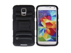 Black Combo Rugged Hybrid Hard Rubber Phone Case Holder Skin for Samsung Galaxy S5 i9600
