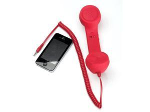 3.5mm Mic/Speaker Retro Style Handset With Volume Remote Control for iPhone,Red