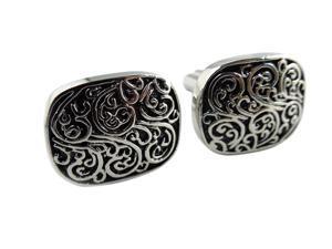 Men's Stainless Steel Cufflinks with Black Carved Elegant Fractal Design