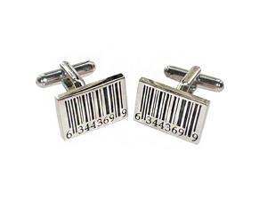 Bar Code Layered Square Men's Cufflinks - Black/Silver