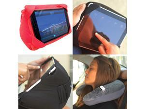 AMC Headrest U-shaped Pillow Travel Tablet Kindle Galaxy Cover, Red