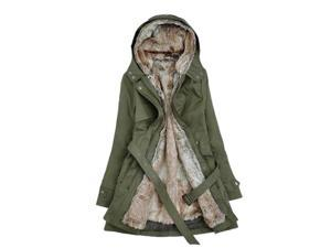 Women's Thicken Cotton Faux Fur Warm Winter Coat Hood Parka Overcoat Long Jacket