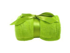 """Classic Solid Color Soft Warm Winter Fleece Home Throw Blankets 42""""x60"""",Lime Green"""