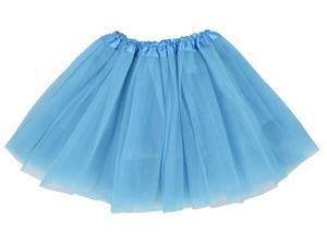 Simplicity Women Stretchy Petticoat Ballet Tutu Dress in 3 Layered Tulle, Sky Blue