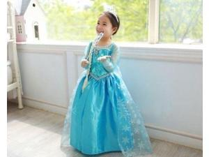 Girls Blue Dresses Disney Elsa Frozen Costume Princess Elsa/Anna Party Dresses