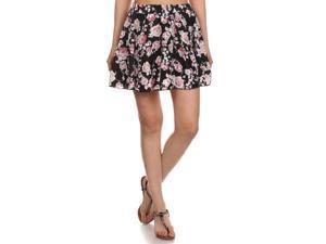 Ladies Floral Print Flared A-Line Pleated Short Mini Skirt