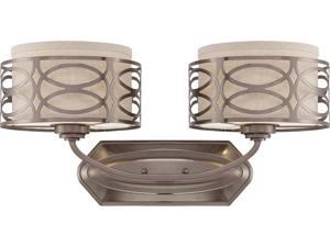 Nuvo Harlow - 2 Light Vanity Fixture w/ Khaki Fabric Shades
