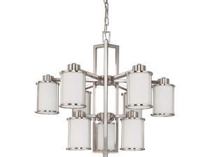 Nuvo Odeon ES - 9 Light Chandelier w/ White Glass - (9) 13w GU24 Lamps Included