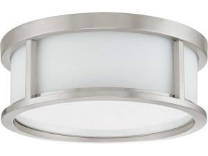 Nuvo Odeon ES - 2 Light 13 inch Flush Dome w/ White Glass - (2) 13w GU24 Lamps Included