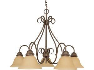 Nuvo Castillo - 5 Light - 28 inch - Chandelier - w/ Champagne Linen Washed Glass