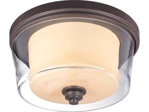 Nuvo Decker - 3 Light Large Flush Fixture  w/ Clear & Cream Glass