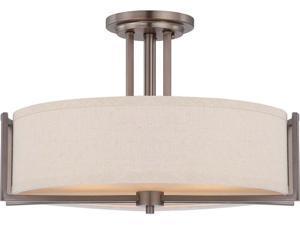 Nuvo Gemini - 3 Light Semi Flush Fixture w/ Khaki Fabric Shade