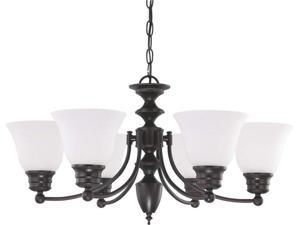 Nuvo Empire - 6 Light 26 inch Chandelier w/ Frosted White Glass