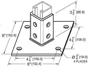 Post Base Single Channel 4 Hole Standard 3-1/2in.