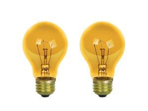 2Pk - SUNLITE 25w A19 120v Transparent Yellow Medium Base Bulb