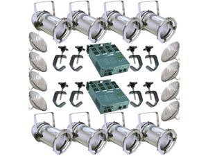 8 Silver PAR CAN 64 500PAR64 WFL Bulbs C-Clamp 2 Dimmer