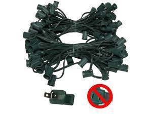 """C9 E17 Base Light Stringer, 119' Length, 12"""" Spacing, 10 Amp SPT2 Green Wire"""