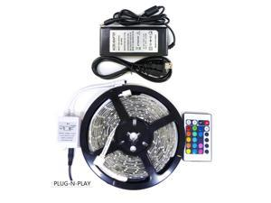 Genssi RGB Color 5M 16.4 Feet LED Strip Rope Light Kit Power Supply 300 LED 3528 SMD Waterproof Flexible