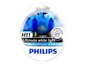 2x PHILIPS Diamond Vision 5000k Headlight Light Bulb H11- Authentic Germany