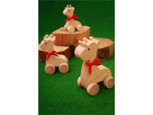 Wooden Animal Car - Giraffe Family (DIY) - Beech Wood, Paintable (3 in a Box)