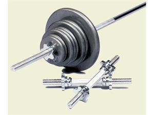 Regular boxed set, black plates, 6' chrome threadedbar, (2)handles, collars