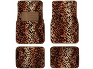 4 Pieces Tan Black  Leopard Print Front & Rear Carpet Floor Mat Set Universal