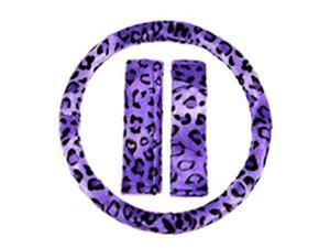 3PC Purple Leopard Animal Print Steering Wheel Cover & Seat Belt Shoulder Pads Universal Set