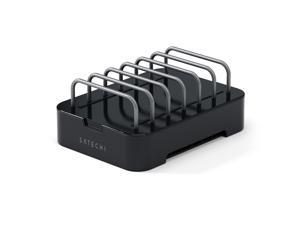 Satechi 6-Port Customizable Media Organizer Desktop Charging Station, Multi-Device Dock, For iPhone iPad Smartphone PC Tablets etc. (Black)