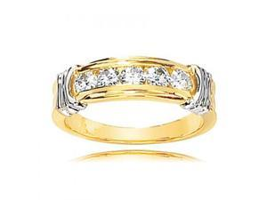 14K White And Yellow Gold Ridged 5-Stone Round Moissanite Anniversary Band
