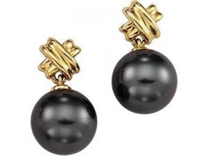 14K Yellow Gold Grooved X Form Black Tahitian Pearl Dangle Earrings - 15MM