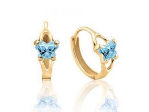 14K Yellow Gold Blue Cubic Zirconia Kids Prongs Butterfly Hoop Earrings -1.52Gms