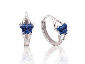 14K White Gold Blue Cubic Zirconia Kid's Prongs Butterfly Hoop Earrings -1.52Gms