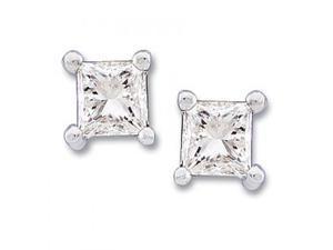 14K White Gold White Diamond Princess Cut 4-Prong Stud Earrings - 0.33 Cttw