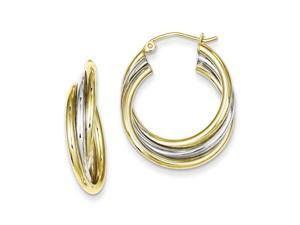 925 Yellow Gold Flashed Silver Polished Triple Circle Hoop Earrings - 25x22MM