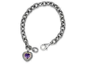 925 Sterling Silver Double Rope Accent Amethyst Heart Pendant Bracelet -1.25Cttw