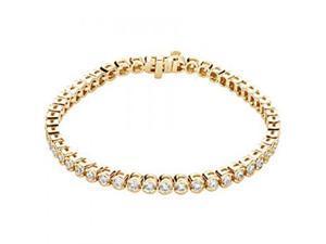 14K Yellow Gold White Diamond Round Half Bezel Tennis Bracelet - 3 Cttw