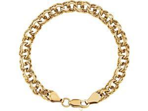 14K Yellow Gold 7mm wide Heavy Round Link Charm Bracelet