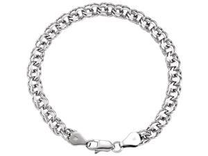 14K White Gold 6mm wide Heavy Round Link Charm Bracelet