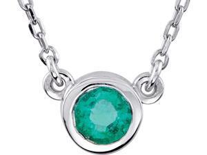 925 Sterling Silver Bezel Set Round Emerald Pendant Necklace- 1.45 Grams