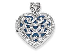 925 Sterling Silver Diamond Vinatage Style Heart Locket Pendant - 0.009 cttw