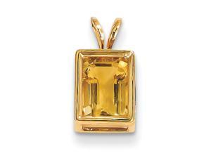 14K Yellow Gold Citrine Emerald Cut Charm Pendant - 1.305cttw