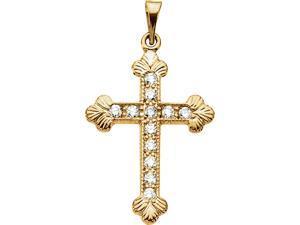 14K White Gold White Diamond Textured Budded Cross Pendant Charm - 22.5x16.5MM