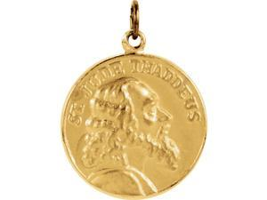 14K Yellow Gold St. Jude Thaddeus Medal Charm Pendant - 19.5x19.5MM 3.94 Grams