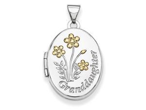 Flower Locket in Yellow Gold Plated Sterling Silver - Mirror Finish - Women