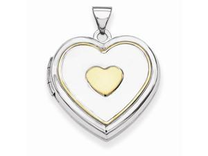 Heart Locket in Yellow Gold Plated Sterling Silver - Mirror Polish - Women