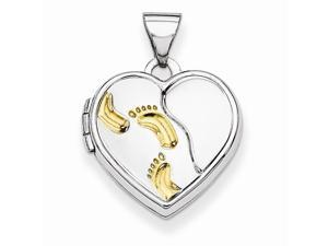 Heart Footprint Locket in Yellow Gold Plated Sterling Silver - Glossy Finish