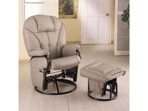 Leatherette Bone Glider Recliner / Ottoman by Coaster Furniture