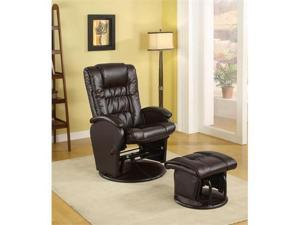 Dustyn Gliding Chair And Ottoman in Brown Vinyl by Coaster Furniture