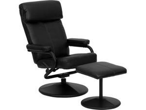 Contemporary Black Leather Recliner and Ottoman with Leather Wrapped Base By Flash Furniture