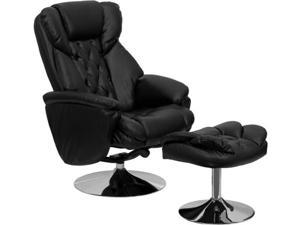 Transitional Black Leather Recliner and Ottoman with Chrome Base By Flash Furniture